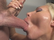 Wild horny babe delighfuly sucking and gets jizz on