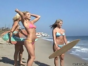 These 3 sexy muff divers take a day at the beach and turn it into the hottest 3 way blonde explosion