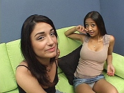 Asian lesbian hottie fingers her snatch while fucking a mature babe with a vibrator