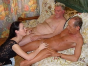 Two grandpas fucking a girl