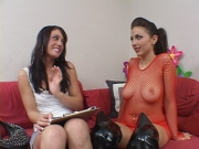 Experienced fishnet wearing lesbo rams a vibrator up her friends wet snatch