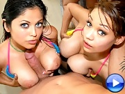 These 3 hot big tittied babes are frollicking around poolside in their teenie bikinis