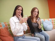 Sexy older brunette lesbo in lingerie turns on young redheads pussy