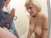 Big tit blonde gets her melons licked before a fuck session