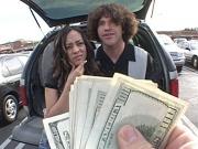 Slutty brunette jumps on a strange hard cock for cash